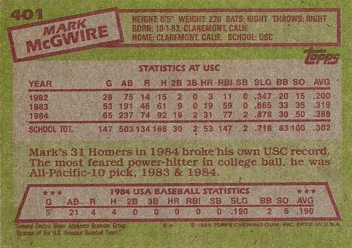 1985 Topps 401 1984 United States Baseball Team Mark Mcgwire
