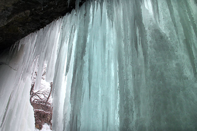 Inside a frozen waterfall in Minneapolis, MN