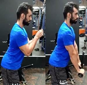 Ejercicio de extensión de brazos para tríceps en polea