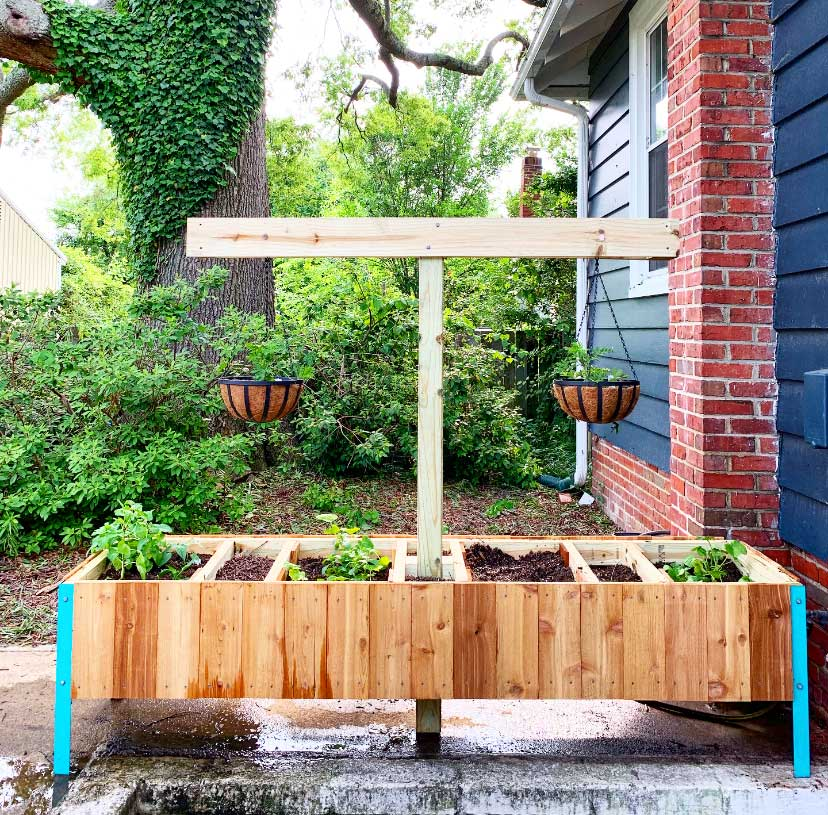 DIY raised garden bed with hanging planters