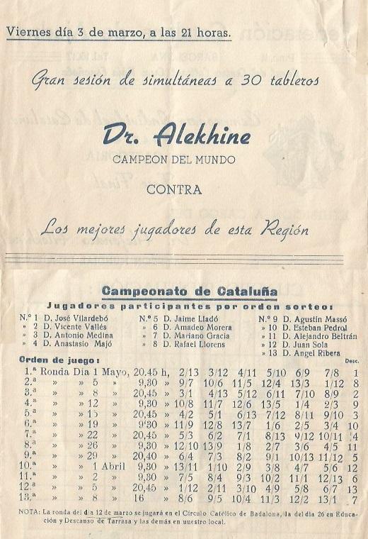 Partes del díptico sobre el Campeonato Individual de Catalunya 1944