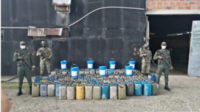 Mas de mil galones de combustible incautados en Condoto, Cantón de San Pablo y Cértegui
