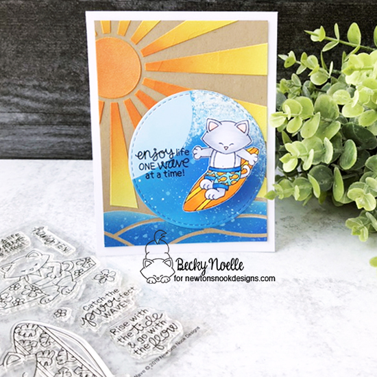 Enjoy life one wave at a time by Becky features Newton's Perfect Wave, Sunscape, and Circle Frames by Newton's Nook Designs; #newtonsnook