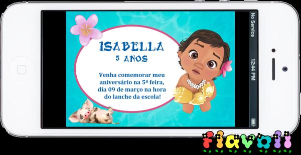 Flavoli Papelaria Personalizada Convite Digital Moana Baby