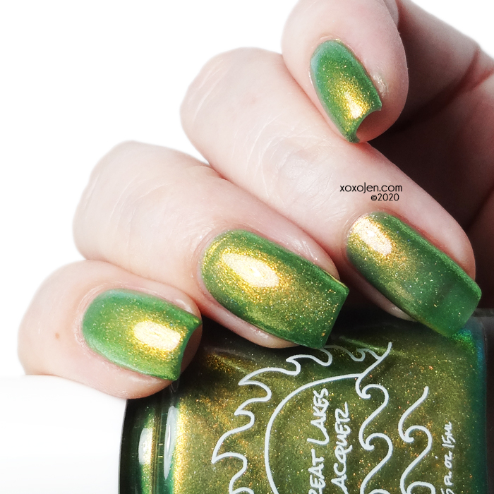 xoxoJen's swatch of Great Lakes lacquer I am Melon Lord
