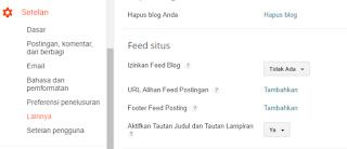 pengaturan feed post dalam blog