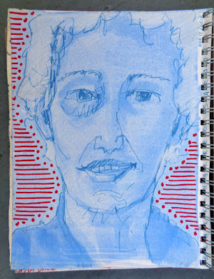 Portrait of Sarah, oil paint marker and gouache in 9x12 sketchbook