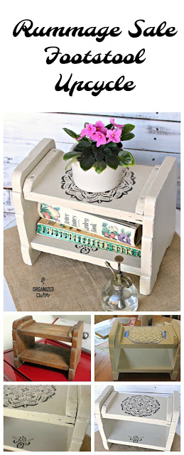 Upcycled Rummage Sale Footstool #upcycle #repurpose #stencil