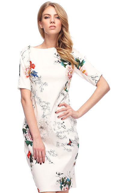 Floral Print Slim White Dress
