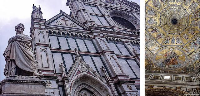 Florença, Itália: estátua de Dante e Mosaico do Batistério