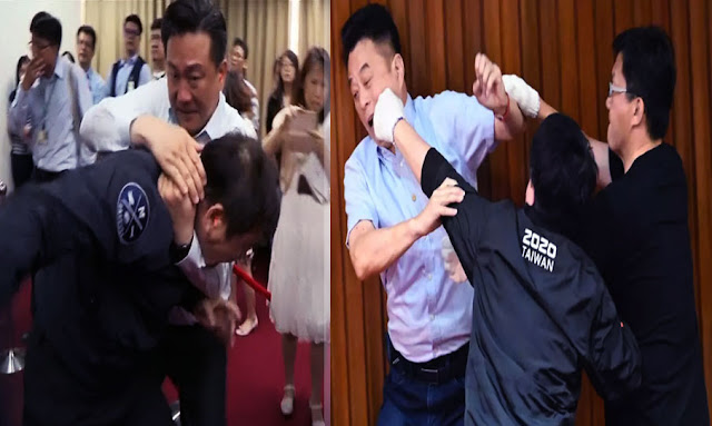 Parlement de Taiwan : après un débat houleux, les députés se battent à coups de poing et de bombes à eau