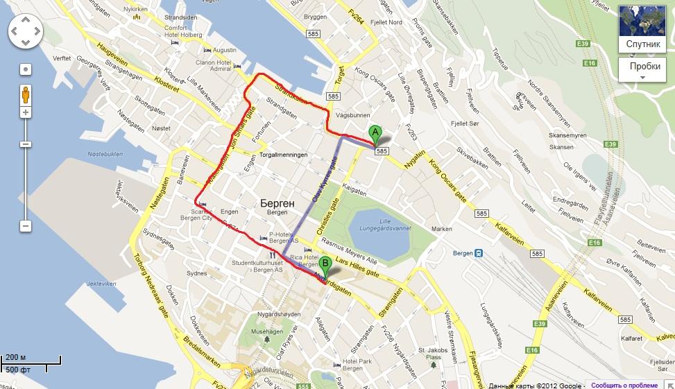 kart over bybanen