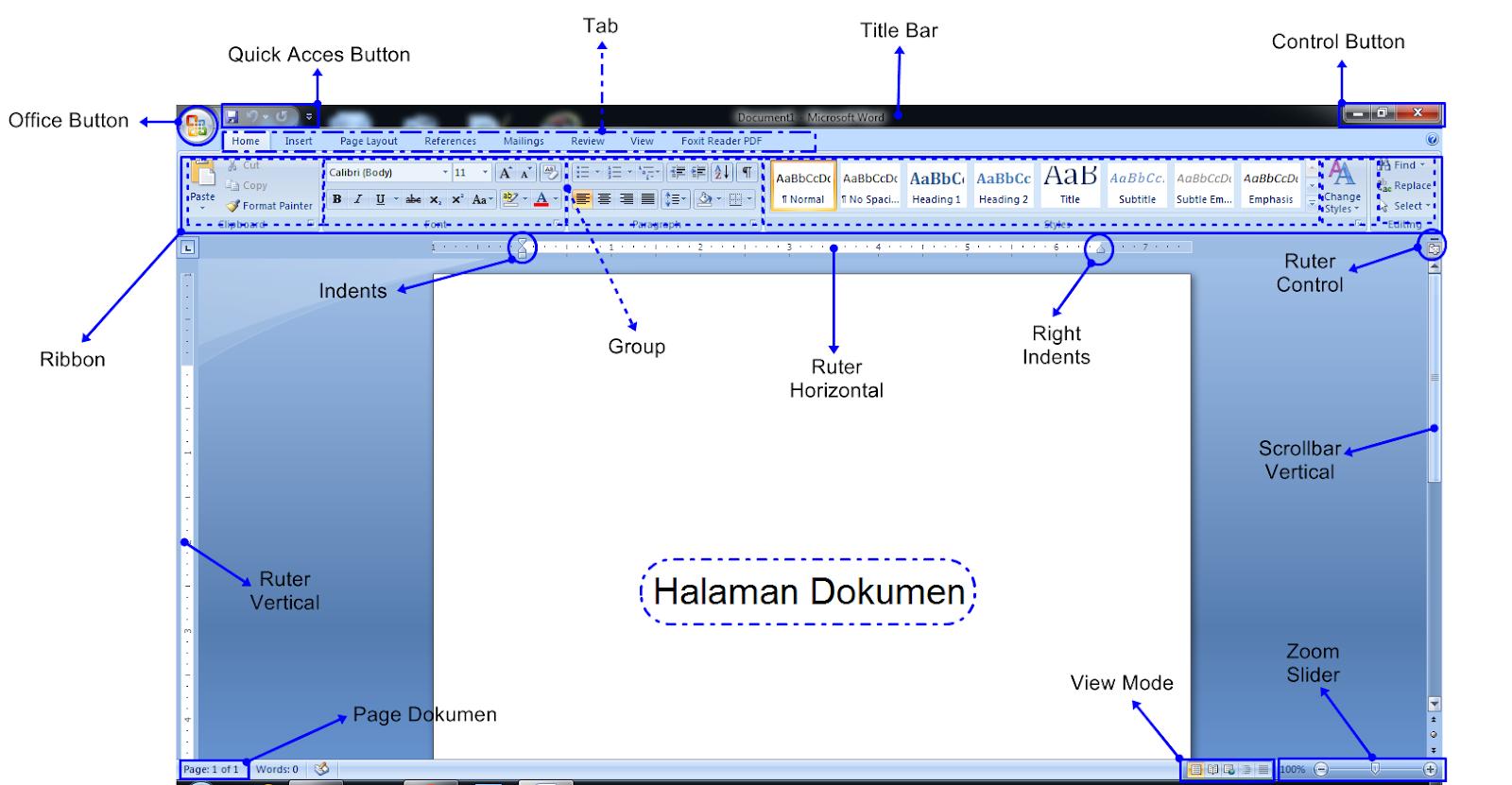 Fungsi dan Pengertian Ikon di Microsoft Word 2007 Beserta Gambar - Computer Perkasa