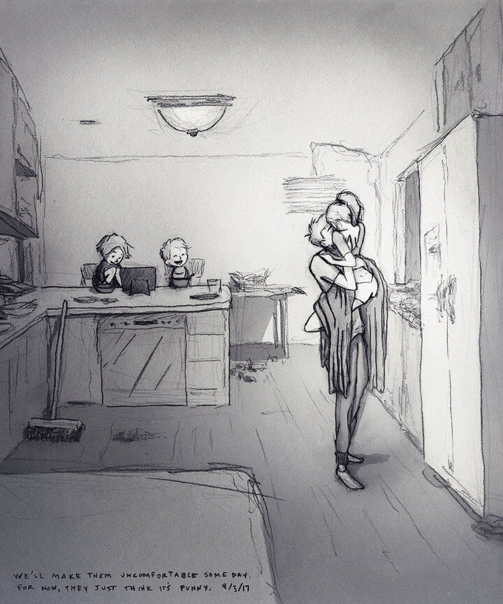Artist Draws Emotional Illustrations Of His Life With His Wife And Children