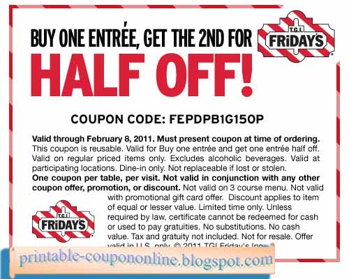 graphic regarding Tgifridays Printable Coupons named Fridays Discount codes 2019