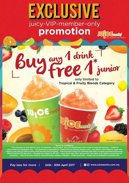 Juice Works VIP Member Buy 1 Free 1 Promo