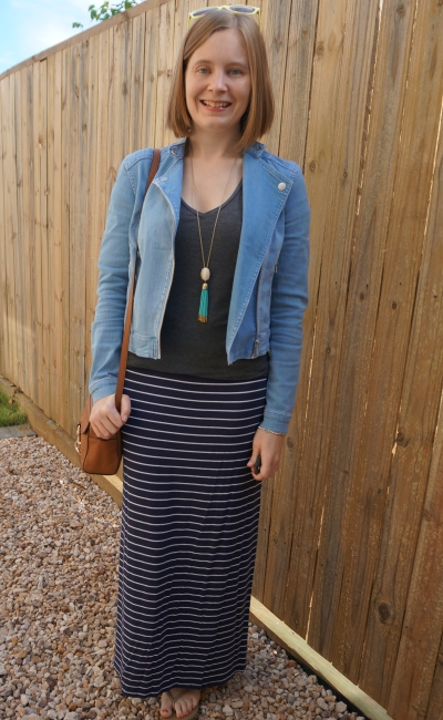 easy mum style jeanswest denim biker jacket and grey tee with jersey navy stripe maxi skirt | awayfromblue
