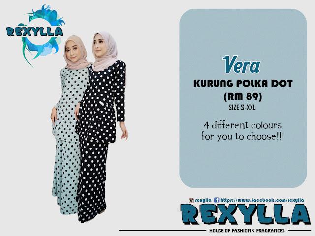 rexylla, baju kurung, kurung moden, polka dot, vera collection