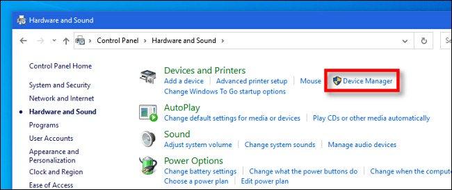 """في لوحة تحكم Windows 10 ، انقر فوق """"إدارة الأجهزة"""""""