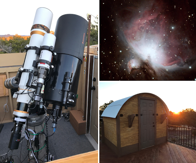 """ATEO-2A: 5"""" Refractor and ATEO-2B: 11"""" Schmidt-Cassegrain Imaging Telescopes with M42, The Orion Nebula imaged with ATEO-2A and Omega Observatory located at SkyPi Remote Observatory that houses ATEO-2A and ATEO-2B at Sunrise."""