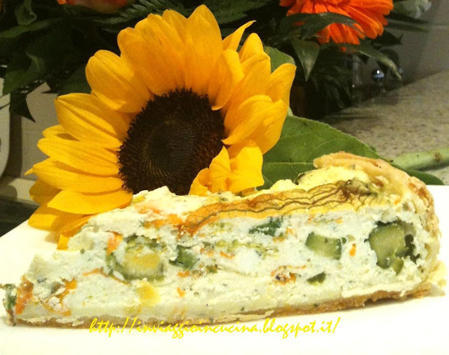 Torta rustica con zucchine novelle e i loro fiori