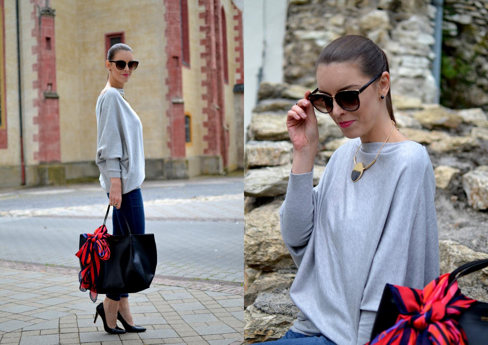 asymetrický šedý sveter & nová kolekcia Still od Oriflame