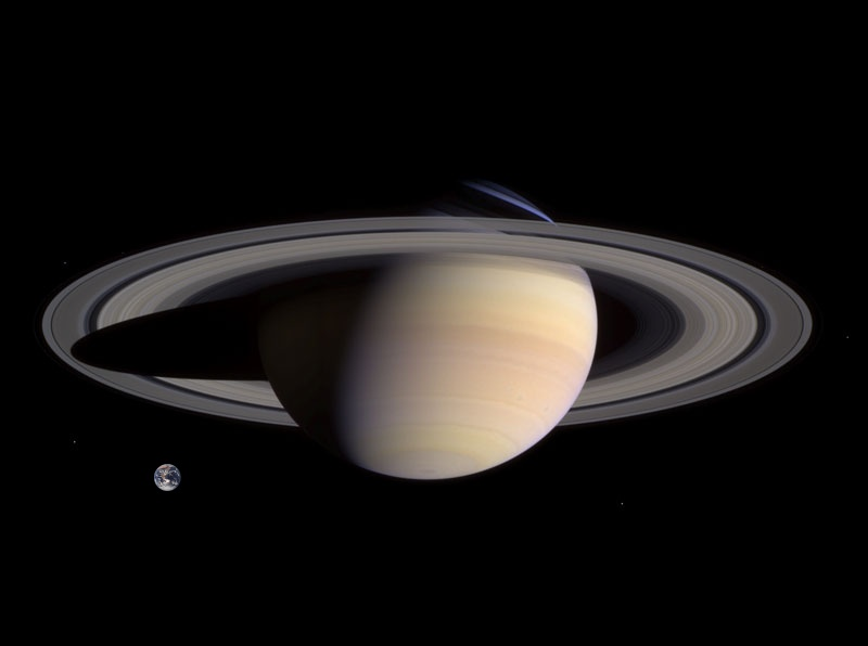 Saturn and Earth size Comparison