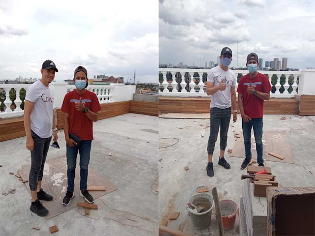 pemasangan lantai kayu dirumah irwansyah