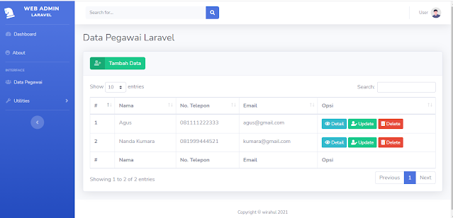 CRUD Data Pegawai dengan Laravel (READ DATA)
