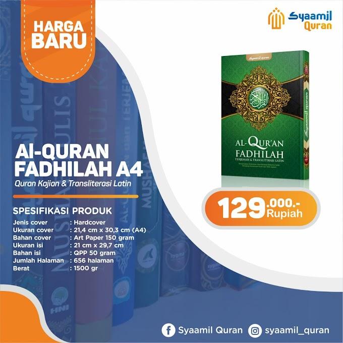 Jual Produk Syaamil Qur'an, Al-Qur'an Fadhilah A4: Qur'an Kajian Dan Transliterasi Latin
