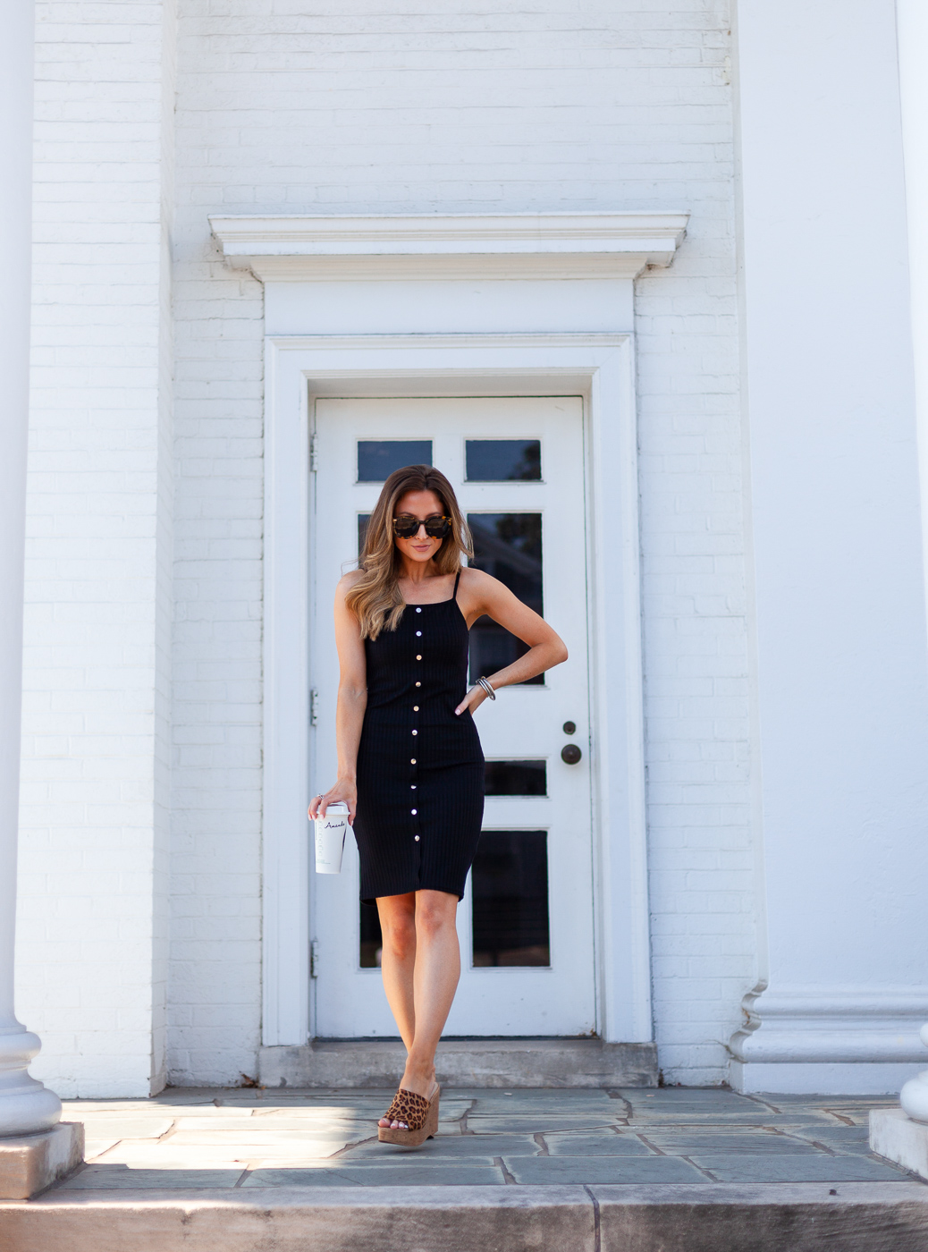 walmart black button front ribbed dress