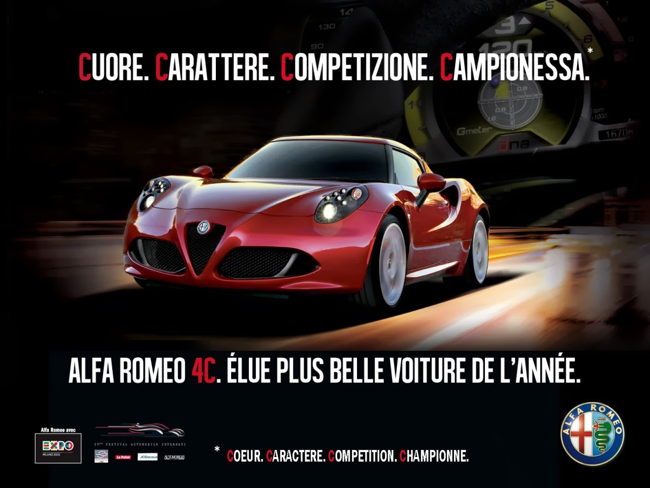 only alfa alfa romeo 4c publicit pour son titre de plus belle voiture de l 39 ann e 2014. Black Bedroom Furniture Sets. Home Design Ideas