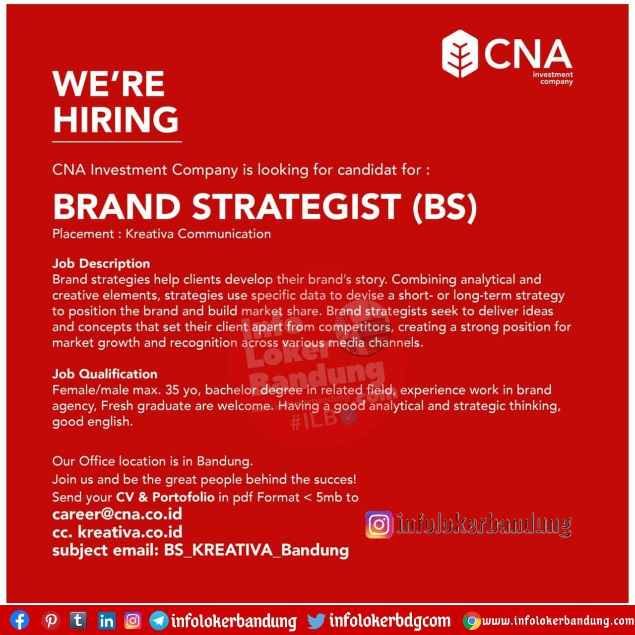 Lowongan Kerja CNA Investment Company Bandung Desember 2020