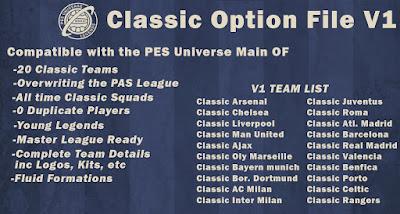 PES 2020 PS4 PESUniverse Classic Option File