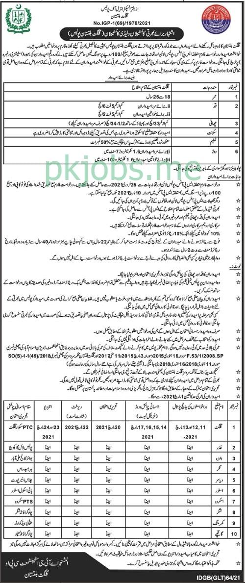 Latest Gilgit Baltistan Police Posts 2021