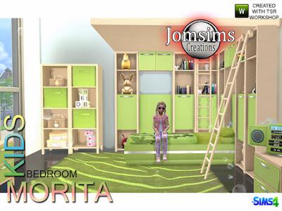 Lilibi Bedroom Морита Детская спальня для The Sims 4 современные дети морита. 1 односпальная кровать 1 мебель, найти в разной поверхности. и комод с деко. используйте его как комод. 1 место, но мебель тоже. найти в категории, живой стул. когда звук через симов аранжируется не может сидеть. 2 ladder deco, найти в категории misc deco. The sims, может слегка касаться, лестница, спать. но не обязательно. ковер. слоеное. игрушка деко. аудио дети. 1 потолочная конструкция, специально предназначенная для мебели. Автор: jomsims
