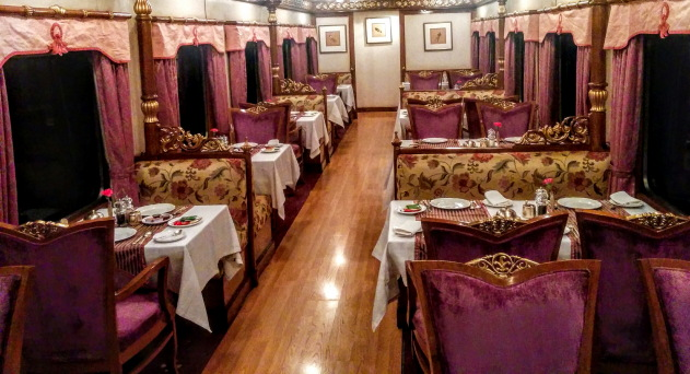 Super luxurious dining area on the Golden Chariot Train