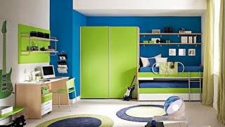 Habitación adolescente color verde azul