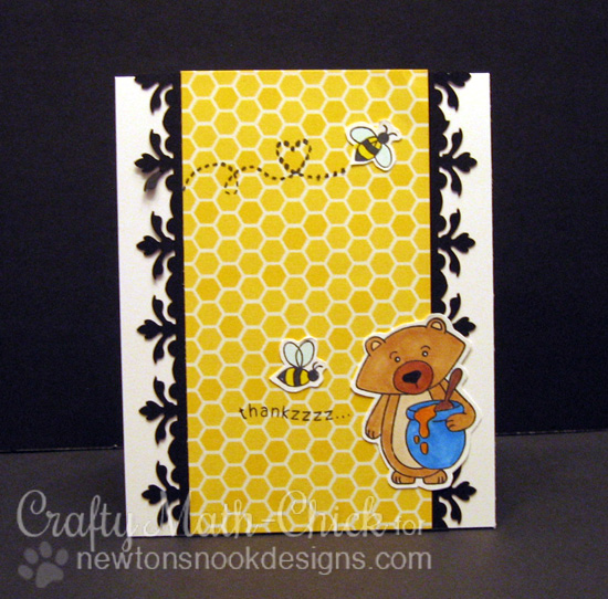 Thank you Honey Bear card by Crafty Math-Chick | Winston's Honeybees stamp set by Newton's Nook Designs #newtonsnook #bee