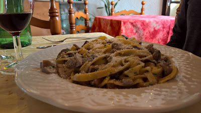 A plate of pasta in Roncola at Belevedere
