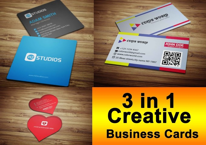 3 in 1 Creative Business Cards Free Download    Visiting Card All in one Download Now