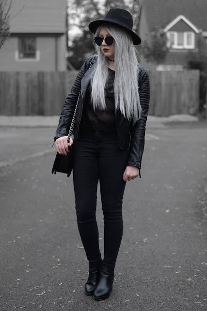 Sammi Jackson - Topshop Biker Jacket, Primark Bralet, Black Mesh Top, Irisie Caged Bralet, Topshop Joni Jeans, Oasap Quilted Bag, Topshop Alexy Boots