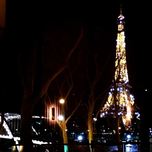 View of the Eiffel Tower at night from Monsieur Bleu restaurant in Paris