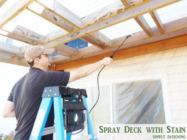 Spray Stain on Deck | How to Stain a Deck | #deck #stain #diy | @SimplyDesigning