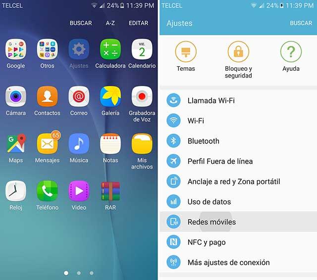 configurar redes móviles en un android 6.0 Marshmallow