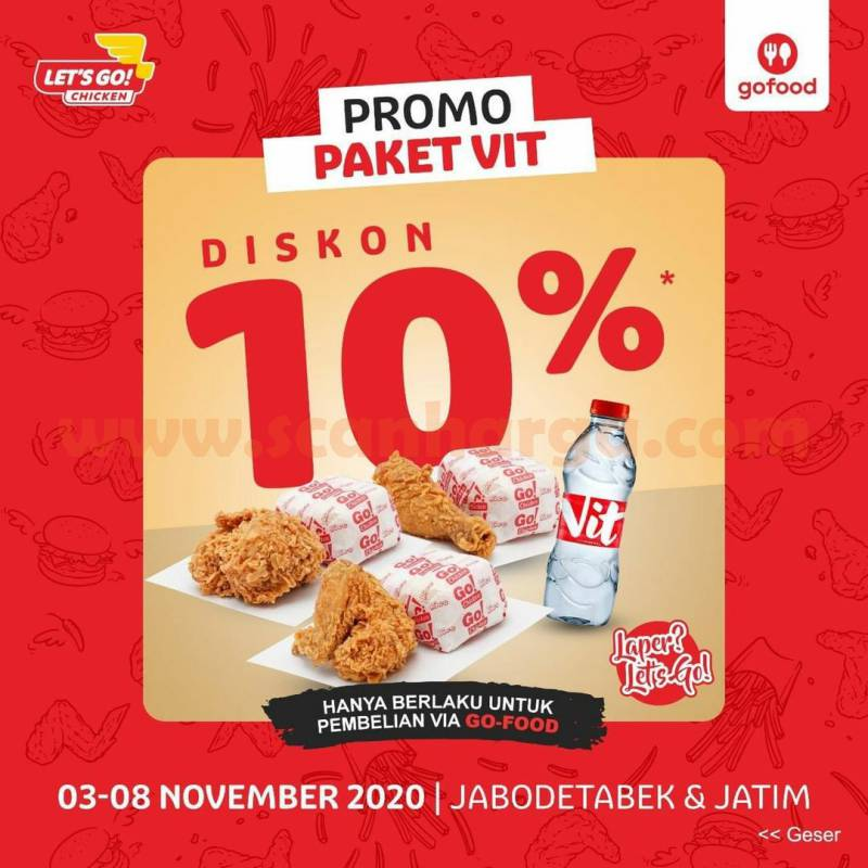 Let's Go! Chicken Promo Paket VIT Diskon 10% via Gofood