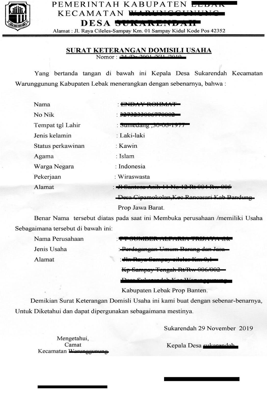 Contoh Surat Keterangan Domisili Usaha Husnuls492 Com