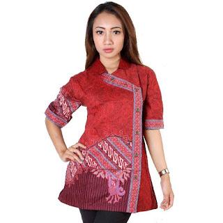 Gambar Model Baju Batik Kantor Wanita Kombinasi