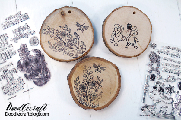 Repeat the process for all the wood slices. These would make a great gift! I'm using the Just Chillin' Stamp Set and the Bee•utiful Stamp Set.   Solvent ink is permanent but can be cleaned off the stamps with rubbing alcohol. They may discolor the polymer slightly, but it does not affect the stamp image at all.