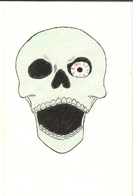 A skull with an eye-ball staring out of the left socket.
